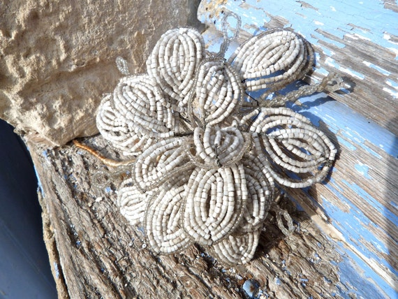 Antique 1900 french beaded white flower seed glass beads beadwork
