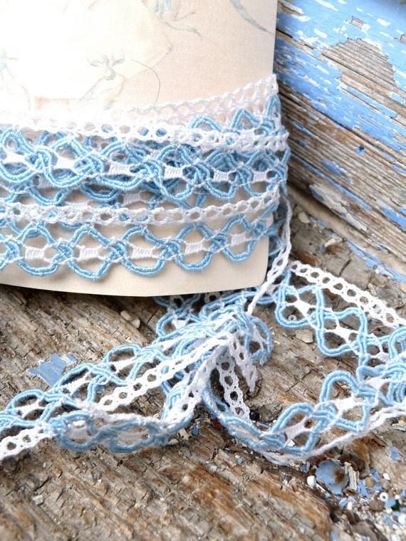 Vintage edwardian cotton lace ecru/soft blue  & retro card set