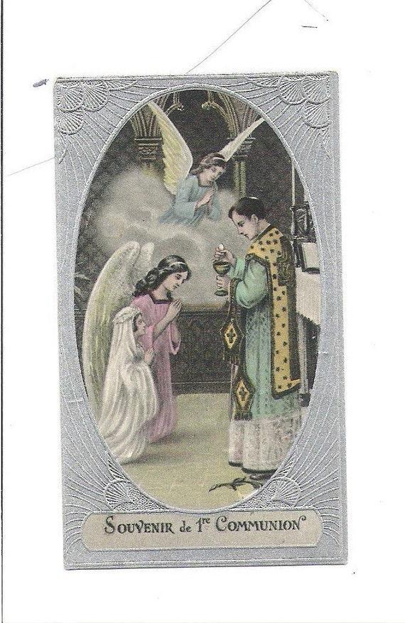 Souvenir de premiere comunion french antique communicante silvered card