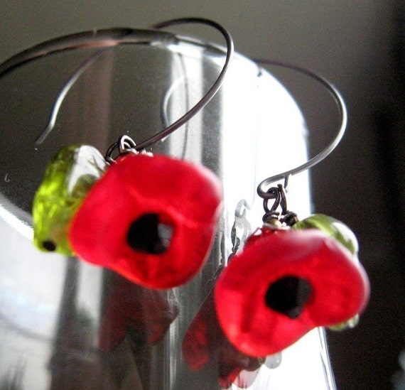 Red Poppy Earrings - Poppy Jewelry