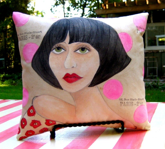 PARIS WOMAN ISABELLA / hand painted pillow/ decorative pillow/ home decor/ Gift Under 40 Dollars