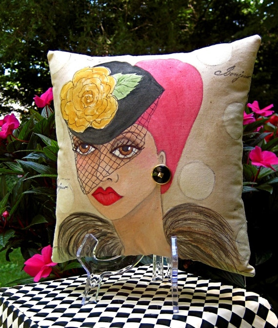YOUNG PARIS GIRL square hand painted pillow with lovely French song quote