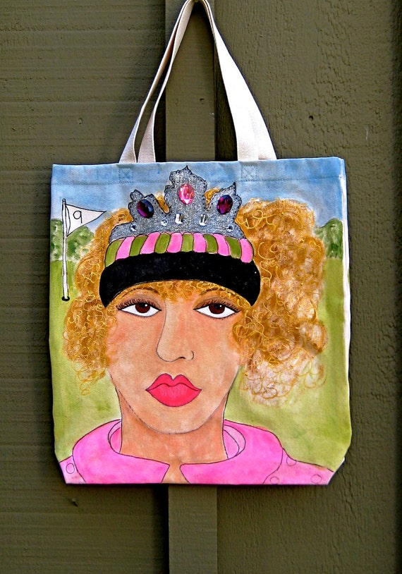 QUEEN Of The GREEN  hand painted golf tote with fun golf quote on back