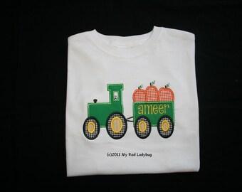 Fall Pumpkin Tractor Applique Shirt Monogrammed