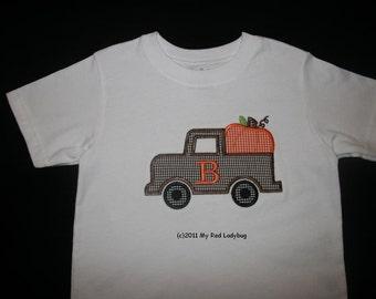 Fall Pumpkin Truck Bodysuit/T-shirt w/ initial
