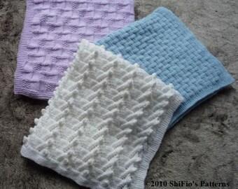 KNITTING PATTERN For 3 Baby Blankets / Afghans PDF 137 Digital Download