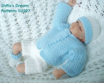 CROCHET PATTERN For Little Boy Blue Shorts, Cardigan, Bootees & Beanie Hat PDF 64