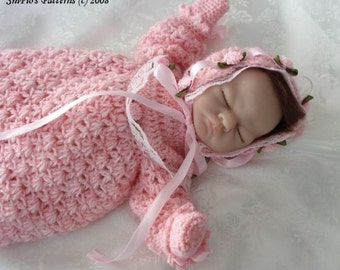 CROCHET PATTERN For Doll Christening Gown, Bonnet & Booties PDF 89