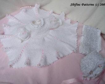 Baby Crochet Dress, Bonnet, Lacey Panties Crochet Pattern DIGITAL DOWNLOAD 95