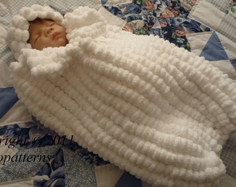 KNITTING PATTERN For Baby Pom Pom Cocoon, Papoose & Hat in 3 Sizes PDF 203 Digital Download