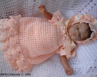 CROCHET PATTERN For Baby Scalloped Dress & Hat PDF 86 Digital Download