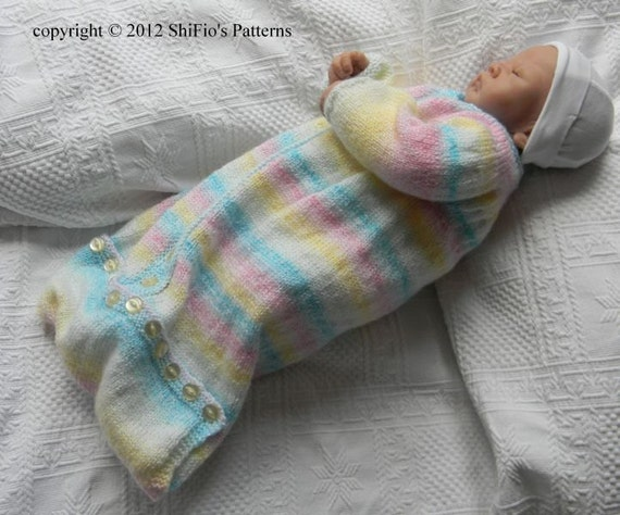 Knitting Pattern Sleeping Bag Baby : KNITTING PATTERN For Baby Sleeping bag in 2 Sizes PDF by ...
