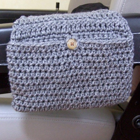 Walker Bag Wheelchair Pouch Crocheted in Heather Gray