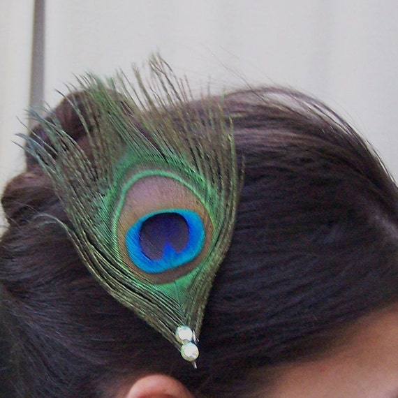 Peacock Feather Hair Clip with Crystal Rhinestones