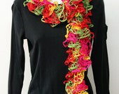 Hand knit flamenco ruffled scarf