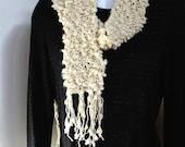 Off white fuzzy, bumpy, hand-knit scarf