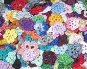 Grab BAG of assorted colors of CROCHET flowers. Lot of 30