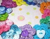 Crochet Flower HEART Button embellishments for scrapbooks and card making PD4U