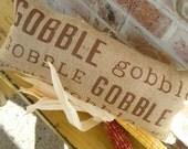 Gobble Gobble Gobble Thanksgiving Burlap Pillow