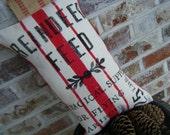 Original Reindeer Feed Burlap Holiday Pillow