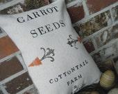 BURLAP PILLOW - Carrot Seeds Feed Sack
