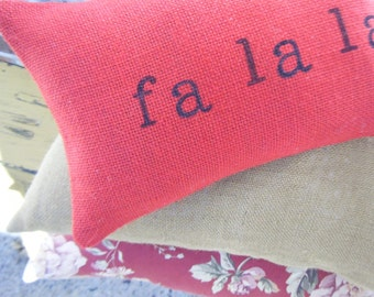 Fa la la Burlap Pillow