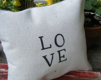 Love on a Pillow of Drop Cloth and Burlap
