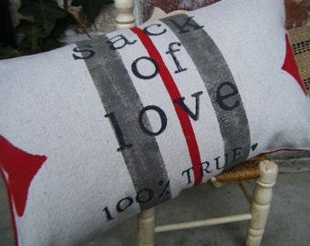 Sack of Love Feedsack Pillow