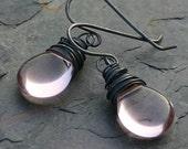 Sterling Silver Earrings Pink Glass Teardrop Oxidized Wire Wrapped - Ballet Slippers