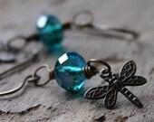 Celsian Teal Blue Czech Glass Rondelle Antique Brass Dragonfly Earrings - Whisp