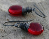 Red Glass Earrings Smooth Teardrop Oxidized Sterling Silver Wire Wrapped Valentine - Crimson