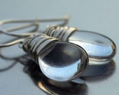 Clear Czech Glass Smooth Teardrop Sterling Silver Wire Wrapped Earrings - Plain Jane