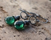 Emerald Green Quartz Earrings Sterling Silver Wire Wrapped May Birthstone - Emerald Hollow