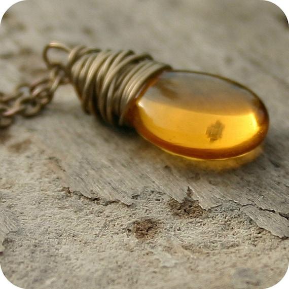 Wire Wrapped Necklace, Antiqued Brass Jewelry, Topaz Czech Glass Teardrop - Honey