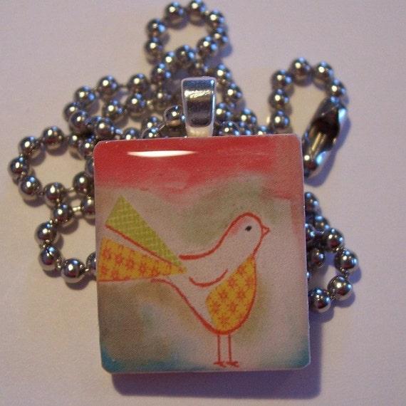 PRETTY BIRD - scrabble tile pendant with FREE chain