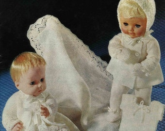 """Vintage Baby Doll Layette, 14"""" and 16"""" Doll, Knitting Pattern, 1960 (PDF) Pattern, Sirdar 2461"""