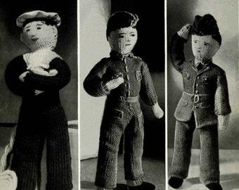 Vintage British Sailor, Soldier, Airman Dolls, Knitting Pattern, 1950 (PDF) Pattern, Bestway 877