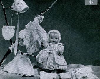 "Vintage Doll's Clothing to Fit 10"" Doll, Knitting Pattern, 1950/1960 (PDF) Pattern, Lavenda 1072"