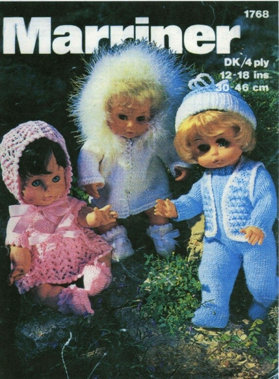 Vintage Dolls Outfits, (Pink Outfit, White Outfit, White & Blue Outfit) Knitting Pattern, 1960/1970 (PDF) Pattern, Marriner 1768