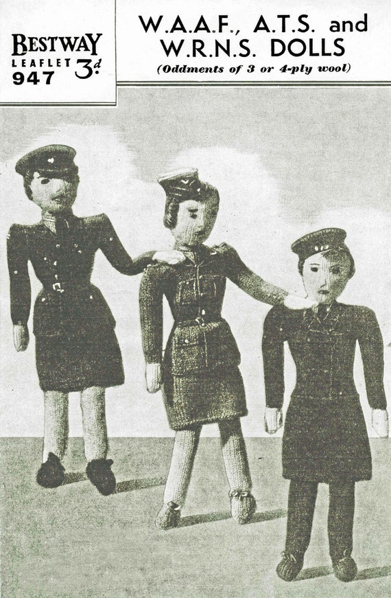 Vintage Doll's, Womams, Army, Airforce and Navy Doll's, Knitting Pattern, 1950 (PDF) Pattern, Bestway 947