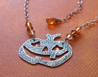 Smiling Jack O' Lantern Pumpkin Halloween Fall Necklace in Oxidized Sterling Silver