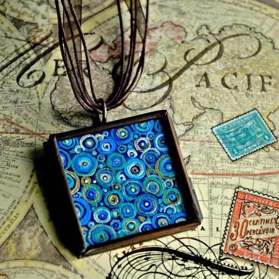 Blue Abstract Necklace - Pendant - Handpainted - Original Dana Marie Wearable Art - Glass Locket