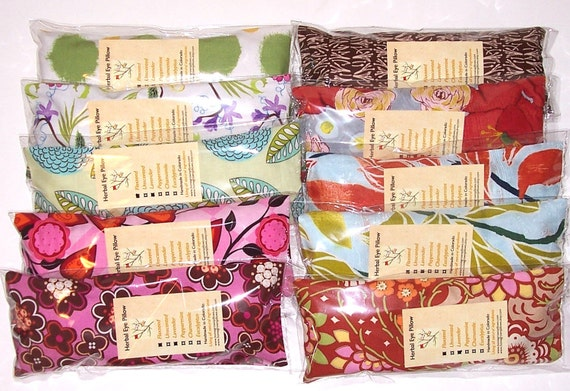 Wholesale Eye Pillows, Set of 10, Individually Packaged , Flaxseed and Lavender