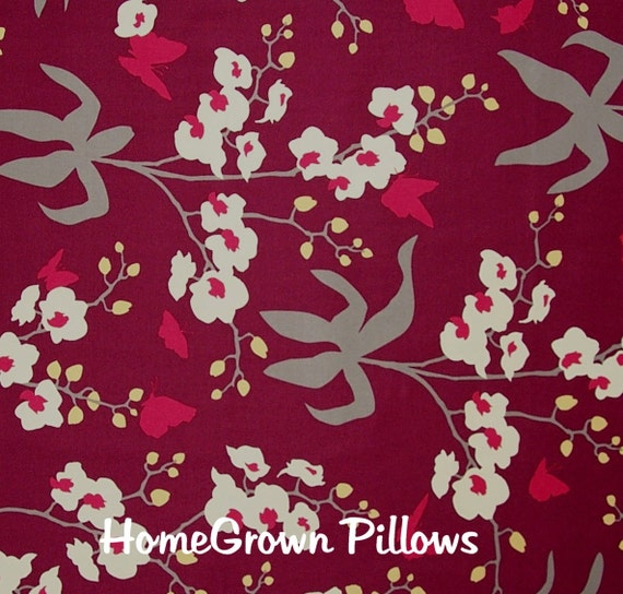 CLOSEOUT Joel Dewberry Fabric, Ginseng Collection, Orchid in Mulberry, Home Decor, 1 Yard