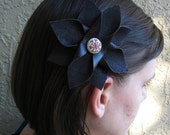 Brown Flower Hair Clip or Headband Faux Leather