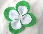 Green and White Spring Felt Flower Hair Clip