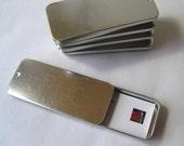 2 LARGE slide top tins MOO card tins
