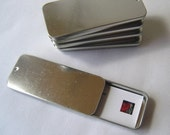 2 LARGE slide top tins MOO card tins