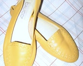 Mustard Yellow Calico Sling Back Flats