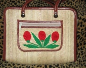 Amazing Vintage Floral Embroidered Straw Purse